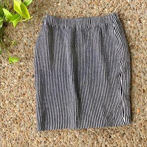 St. John Collection Blue Stripe Knit Santana Skirt